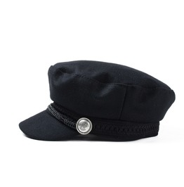 Winter Octogonal Wool Button Flat Top Military Cap Hat Accessories
