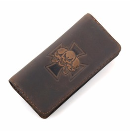 Leather Skull Pattern Long Mens Wallet Accessories