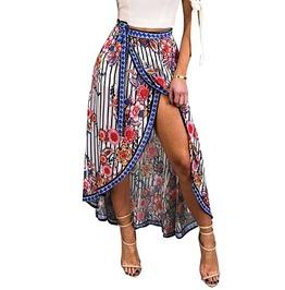 Trendy Women's Asymmetrical Flower Print Long Skirt