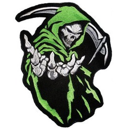 "Grim Reaper (Light Green) Back Patch (24cm X 32cm (9 1/2"" X 12 1/2"")"