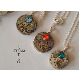 Steampunk Watch Movements Swarovski Necklace