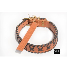 Misfits Crisscross Tan/Black Handstitch Collar