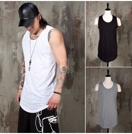 Simple Slub Round Hem Long Tank 115