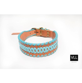 Sapphire Sin Blue/Turquoise Tan Leather Stitch
