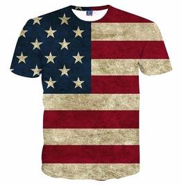 3 D Print Usa Flag Striped American Flag Men T Shirt Summer Tops