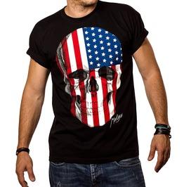 Skull Usa Flag Short O Neck Sleeves Cotton T Shirt