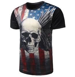 Black Punk Skull Usa Flag Short O Neck Short Sleeves Cotton 3 D T Shirt