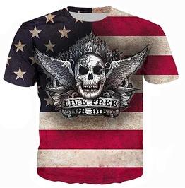 Live Free Or Die Usa Flag Skull Print Short Sleeve O Neck T Shirt Men