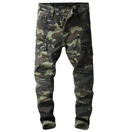 Pleated Biker Camouflage Print Pockets Cargo Pants Patchwork Denim Jeans
