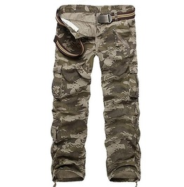 Camouflage Loose Style Multi Pockets Design Mid Waist Cargo Pants