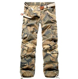 Yellow Camouflage Loose Multi Pockets Mid Waist Breathable Cargo Pants