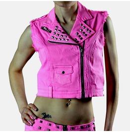 Lip Service Liquid Sky Neon Pink Jean Studded Vest Top