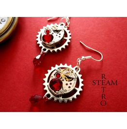 Vintage Watch Movement Siam Swarovski Steampunk Earring