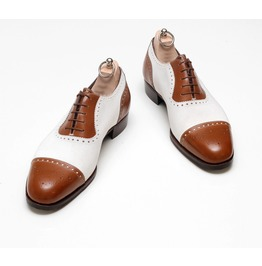 Handmade Mens Two Tone Formal Shoes, Me Brown And White Spectator Shoes