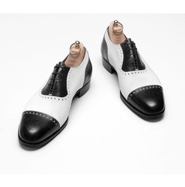 Handmade Mens Two Tone Formal Shoes, Me Black And White Spectator Shoes