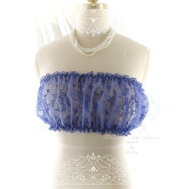 Blue Embroidery Lace Sheer Tube Top Lingerie Strapless Camisole Puff Bendea