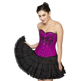 Purple Satin Sequins Goth Helloween Costume Tutu Skirt Overbust Corset Dress