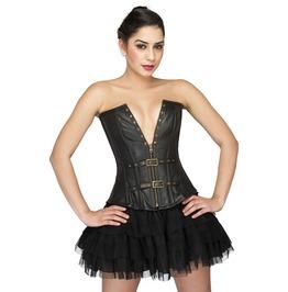 Black Leather Halloween Costume Bustier Satin Net Tutu Skirt Corset Dress