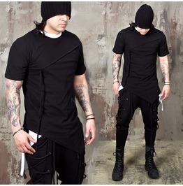 Asymmetric Cut Hem Strap Slim T Shirts 907