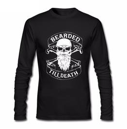 Viking Skull Bearded Hipster Men Long Sleeve T Shirt
