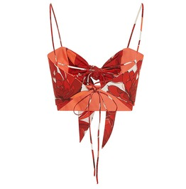 Boho Chic Fire Red Bow Tank Top