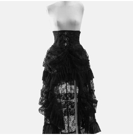 Gothic Black Lace And Pleats Half Long Skirt With Adjustable Belts For Women
