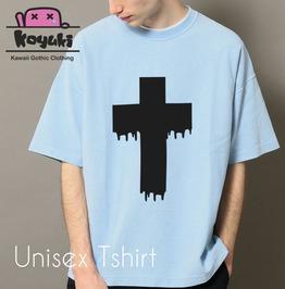 Cross Pastel Blue Tshirt Pastel Gothic Harajuku