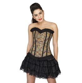 Lily Printed Cotton Goth Halloween Costume Tutu Skirt Overbust Corset Dress