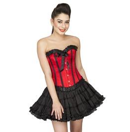 Red Satin Black Frill Halloween Costume Tutu Skirt Overbust Corset Dress