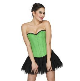 Pea Green Velvet Halloween Costume & Net Tutu Skirt Overbust Corset Dress