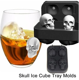 Flexible 3 D Skull Silicone Ice Cube Mold Tray Skulls Round Ice Cube Maker