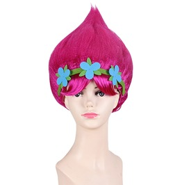 Girls Poppy Wig Cosplay Trolls Flower Cartoons