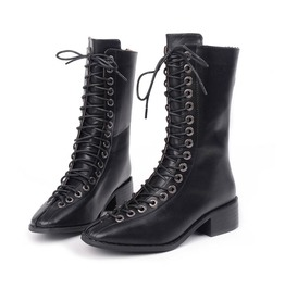Lace Up Mid Heel Booties Above Ankle With Back Zipper Women's Shoes