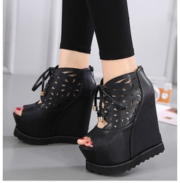 Open Toe Lace Up Wedges With Hollow Carved And Zip Up Details Women's Shoes