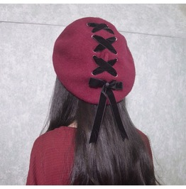Dark Forest Cute Berets With Lace Up Detail Accessories Women's Hats
