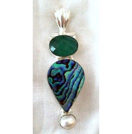 Eye Catching! Large Natural Abalone Emerald Pendant