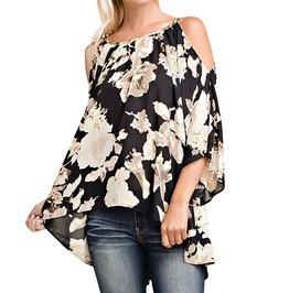 Trendy Women's Plus Size Cold Shoulder Flare Sleeve Blouse