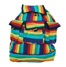 Backpack 3 Pocket Rainbow Rucksack Holdall Hippy Boho Festival Bag