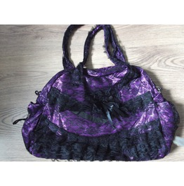 Gothic Lace Satin Shoulder Holdall Hand Bag Black Purple
