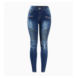 2018 Biker Zip Mid High Waist Jeans For Women