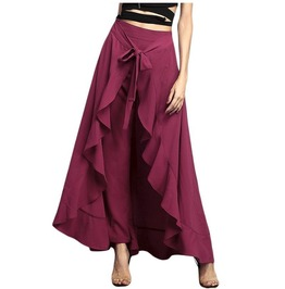 Asymmetric Tie Waist Ruffle Maxi Skirt