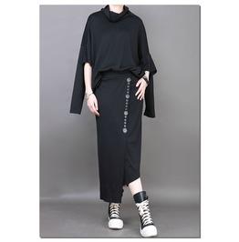 Irregular Length Buttons Decoration Straight Skirts