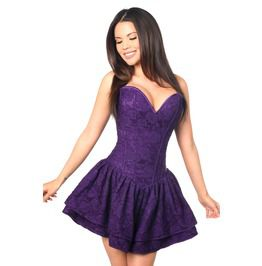 Top Drawer Dark Purple Lace Steel Boned Ruffle Corset Dress