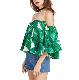 Boho Chic Off Shoulder Emerald Green Blouse