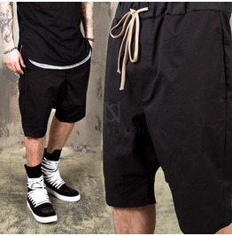 Black Drawcord Banding Baggy Shorts 89