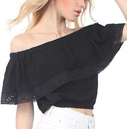 Trendy Women's Lace Off Shoulder Patchwork Top