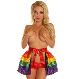 Rainbow Satin Layered Ruffle Skirt
