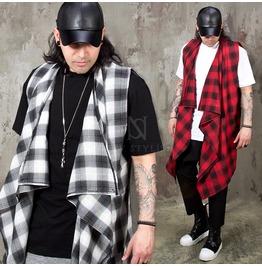 Checkered Ruffle Shawl Long Vest 91