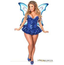 f5f97b15fca Top Drawer Premium Sequin Blue Fairy Corset Dress Costume