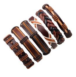 Set 6 Pcs Rock Brown Genuine Leather Men Bracelets